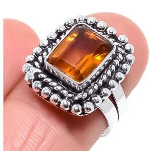 Citrine Gemstone Ethnic Handmade Silver Jewelry Ring Size 6.5 RRJ1120