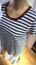 AF Nautical supplies Gaastra navy blue white striped top beaded neck M 10-12 14