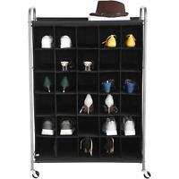 Shoe Rack Storage Organizer for 30 Pairs, Portable on Wheels, Black
