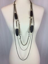 """39-43"""" Long CHICOS Silver & Gold Tone Chain Link Wood Beads Draped Necklace EUC"""