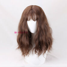womens daily party hair long brown curly fluffy cosplay wig +a wig cap