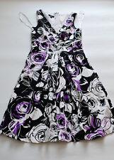 Suzi Chin festivo verano Vestido gr. 40 blanco/negro/púrpura top! muy bonito