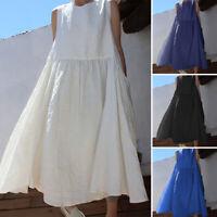 Women Crew Neck Sleeveless Long Maxi Dress Casual Beach Party Dresses Oversized