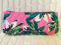 Vera Bradley Brush & Pencil Case Cosmetic Bag Tropical Paradise NWT MSRP $26