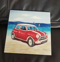Hand Crafted Art Trivet Tile Beach Mini Car Wall Ceramic Decoration