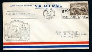 Canada - 1930 First Flight Airmail Cover Winnipeg to Moose Jaw