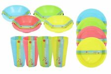 Full 48 Piece Plastic Picnic Set Outdoor Dining Bowls Plates Tumblers 4 Colours