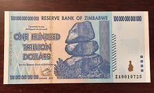 Replacement Zimbabwe 100 Trillion Dollars P91 ZA 2008 UNC Pick 91 Low Serial No.