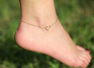 """Dainty Heart Delicate Charm 10"""" Chain Anklet Foot Jewelry 18K Rose Gold Over"""
