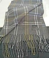 New Cejon Womens Knit  Scarf Gray Blue Green Plaid Acrylic Made in Italy