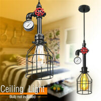 E27 Vintage Cage Industrial Pendant Lamp Steampunk Pipe Hanging Ceiling Light