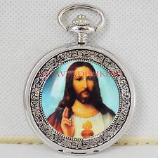 Mens Jesus Silver Pattern Rare Pocket Watch glass Design+Chain