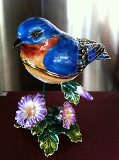 BLUE BIRD  ~ JEWELED ENAMEL TRINKET BOX ~  #3425