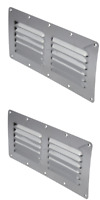 2x Stainless Steel Rectangular 12 Louvre Air Vent, Caravan, Boat, Wall Eave