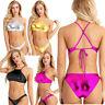 Damen Wetlook Dessous Set in Leder-Optik Bikini BH Tops mit Slip Badeanzug Sets