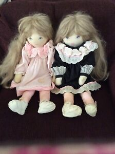 2 Vntg Dolls by Pauline B Jonness Jacobsen Cloth Blonde Hair