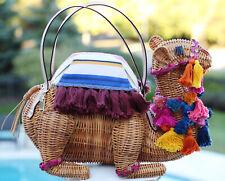 Kate Spade New York Spice Things Up Wicker Camel Bag Clutch Straw Pom Poms purse