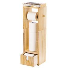 Tissue Rack With Drawer-Standing Toilet Paper Holder Bathroom Storage Organizer