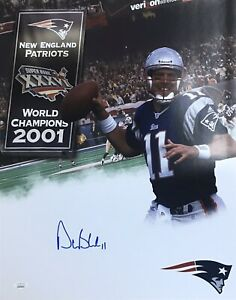 Drew Bledsoe New England Patriots QB #11 Autographed 16x20 Pose #2 JSA Witnessed