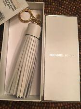 NIB Michael Kors Leather Tassel Charm Key Fob Ring for Purse Optic White Gold