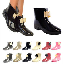 WOMENS BOWS FLOWER WELLINGTON ANKLE BOOTS WELLIES RAIN SNOW Waterproof OUTDOOR