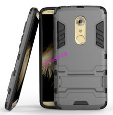 for ZTE Axon 7 Case Rugged Armor Shockproof Hybrid Kickstand Protective Cover Gray