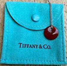 Tiffany & Co Elsa Peretti Round Disc Pendant Necklace Silver Red Carnelian