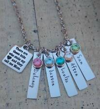 Hand stamped Mother Name Birthstone charm Necklace Custom Personalized Mom Gift