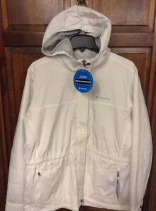 Columbia Women L Jacket Sunset Ridge White WaterProof $150 XL5056 125