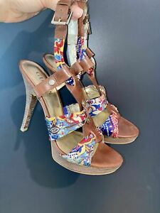 Guess Tan & Floral Wooden Stiletto Heels 7