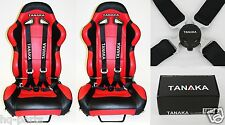 X2 TANAKA UNIVERSAL BLACK 4 POINT CAMLOCK QUICK RELEASE RACING SEAT BELT HARNESS