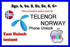 Factory Unlock iPhone 3g/3gs/4/4s/5/5s/5c/6/6+ for Telenor norway network instan