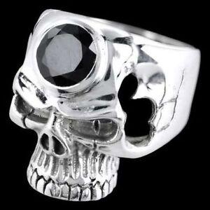Gothic Biker Ring - Dark Onyx Skull Schädel - 925 Sterling Silber Größe: 24/64