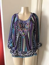 Women Casting Tunic Multi Color Top Beach Cover With Color Stones Gems Small- M