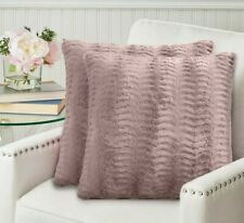 The Connecticut Home Company Faux Fur Pillowcases Set of 2 Decorative Dusty Rose