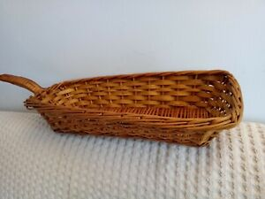 Vintage Rattan Wicker Small Bread Basket with handle cottagecore