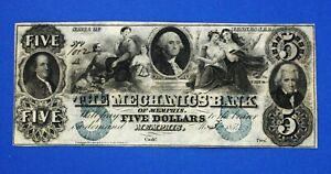 1854 $5 The Mechanics Bank of Memphis, TENNESSEE OBSOLETE Bank Note High Grade