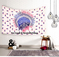 African Bear Print Wall Decor Tapestry Hippie Cotton Throw Bed Cover Twin Size