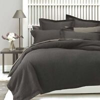 BRAND NEW Linen House Deluxe Waffle Charcoal King Quilt Duvet Doona Cover Set