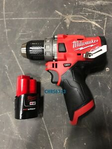 """New Milwaukee 2504-20 M12 12v FUEL 1/2"""" Brushless Hammer Drill 2.0 Battery"""