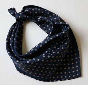 """Silk Neckerchief, cravat, face covering. Blue & cream Millefiori 19"""" square."""