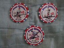 YANKEE Collectors 3 Autographed LV Casino Chips - Skowron, Noren & Bauer w/COA
