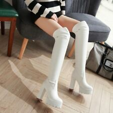Womens Fashion Cut Out Platform Chunky High Heels Over The Knee Thigh Boots Lady