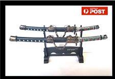 Double Black Mini Decorative Japanese Samurai Katana Swords Letter Opener wStand