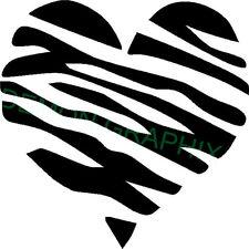 Zebra striped heart vinyl decal/sticker window laptop girl animal print 5x5