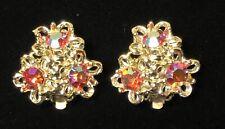 Borealis Rhinestone Clip Earrings Vtg True Vintage Gold Tone Red Aurora