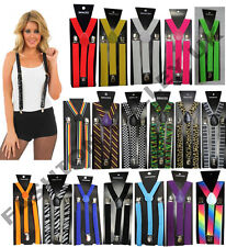 UNISEX MEN WOMENS ADJUSTABLE SLIM TROUSER BRACES SUSPENDERS FANCY DRESS COSTUME