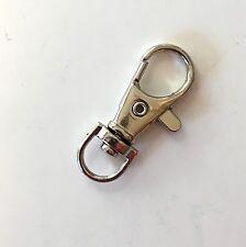 10 x silver metal swivel lobster clips, 38mm x 13mm, UK seller