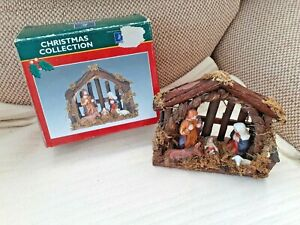 Vintage Wooden Christmas Nativity Set with Ceramic Figures - In Original Box