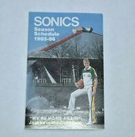 1985-86 NBA Pocket Schedule Seattle Super Sonics Basketball
